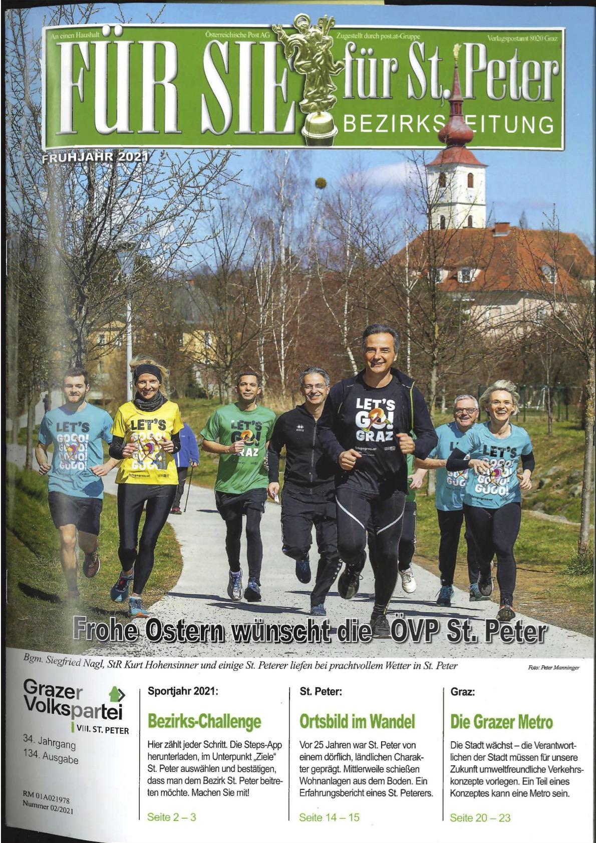 Heftcover von Für Sie St. Peter mit Titel, einem Foto von Läufern und Anreißern der Artikel im Inneren