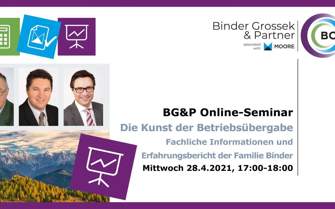 """B2B Online-Seminar """"Die Kunst der Betriebsübergabe – Fachliche Informationen & Erfahrungsbericht der Familie Binder"""""""