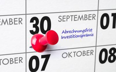 Reminder: Abrechnungsfrist Investitionsprämie 30.09.2021